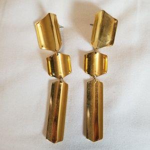 Gold Tone Long Drop Earrings